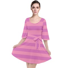 Pink Stripes Striped Design Pattern Velour Kimono Dress by Sapixe