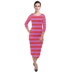 Stripes Striped Design Pattern Quarter Sleeve Midi Velour Bodycon Dress by Sapixe