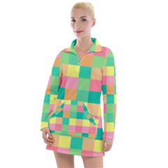 Checkerboard Pastel Squares Women s Long Sleeve Casual Dress by Sapixe