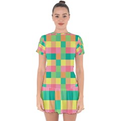 Checkerboard Pastel Squares Drop Hem Mini Chiffon Dress by Sapixe