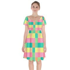 Checkerboard Pastel Squares Short Sleeve Bardot Dress by Sapixe