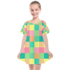 Checkerboard Pastel Squares Kids  Smock Dress by Sapixe
