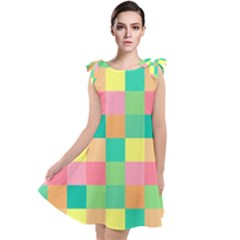 Checkerboard Pastel Squares Tie Up Tunic Dress by Sapixe