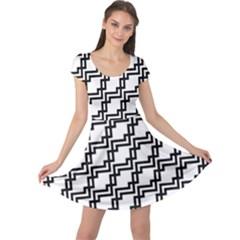 Pattern Monochrome Repeat Cap Sleeve Dress