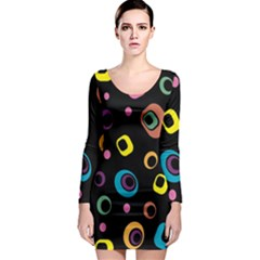 Abstract Background Retro Long Sleeve Bodycon Dress