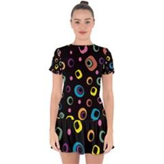 Abstract Background Retro Drop Hem Mini Chiffon Dress by Sapixe