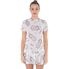 Doodle Pineapples Drop Hem Mini Chiffon Dress by goljakoff