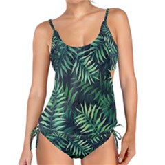 Night Tropical Leaves Tankini Set by goljakoff