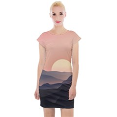 Sunset Sky Sun Graphics Cap Sleeve Bodycon Dress by HermanTelo
