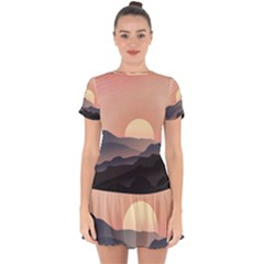 Sunset Sky Sun Graphics Drop Hem Mini Chiffon Dress