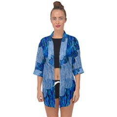 Texture Surface Blue Shapes Open Front Chiffon Kimono by HermanTelo