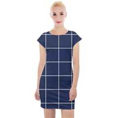 Simple Navy Plaid Cap Sleeve Bodycon Dress by goljakoff