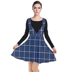 Simple Navy Plaid Plunge Pinafore Dress by goljakoff