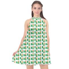 St-patricks Day Background Ireland Halter Neckline Chiffon Dress
