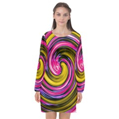 Swirl Vortex Motion Pink Yellow Long Sleeve Chiffon Shift Dress