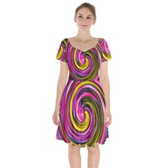 Swirl Vortex Motion Pink Yellow Short Sleeve Bardot Dress