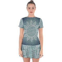 Sun Abstract Summer Drop Hem Mini Chiffon Dress