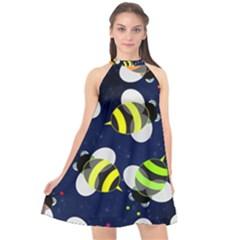 Textured Bee Halter Neckline Chiffon Dress  by HermanTelo