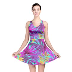 Tropical Greens Pink Leaves Reversible Skater Dress