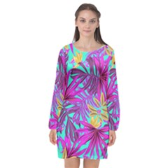 Tropical Greens Pink Leaves Long Sleeve Chiffon Shift Dress