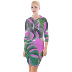 Tropical Greens Pink Leaf Quarter Sleeve Hood Bodycon Dress