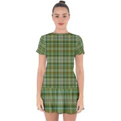 Vintage Green Plaid Drop Hem Mini Chiffon Dress