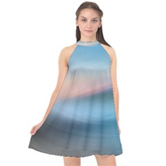 Wave Background Halter Neckline Chiffon Dress  by HermanTelo