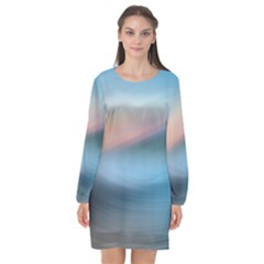 Wave Background Long Sleeve Chiffon Shift Dress  by HermanTelo