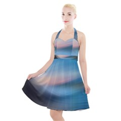 Wave Background Halter Party Swing Dress  by HermanTelo