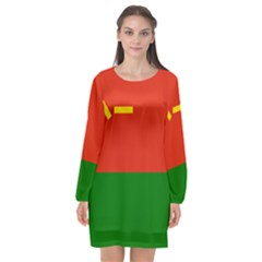 Flag Of People s Liberation Army Ground Force Long Sleeve Chiffon Shift Dress  by abbeyz71