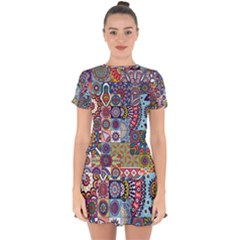 Modern Mandala Design Drop Hem Mini Chiffon Dress by tarastyle