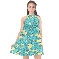 Leaves Dried Halter Neckline Chiffon Dress