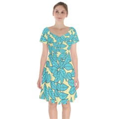 Leaves Dried Short Sleeve Bardot Dress by Mariart
