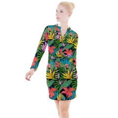 Tropical Greens Leaves Button Long Sleeve Dress