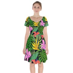 Tropical Greens Leaves Short Sleeve Bardot Dress