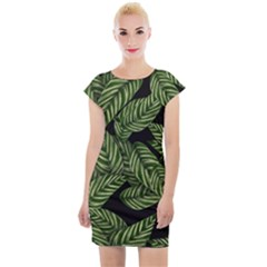 Leaves Painting Black Background Cap Sleeve Bodycon Dress by AnjaniArt