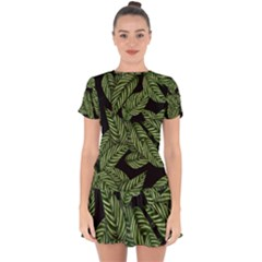 Leaves Painting Black Background Drop Hem Mini Chiffon Dress by AnjaniArt