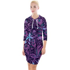 Stamping Pattern Leaves Purple Quarter Sleeve Hood Bodycon Dress by AnjaniArt