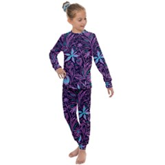 Stamping Pattern Leaves Purple Kids  Long Sleeve Set  by AnjaniArt