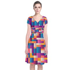 Abstract Geometry Blocks Short Sleeve Front Wrap Dress