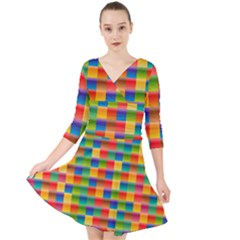 Background Colorful Abstract Quarter Sleeve Front Wrap Dress