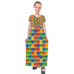 Background Colorful Abstract Kids  Short Sleeve Maxi Dress by Bajindul