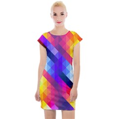 Abstract Blue Background Colorful Pattern Cap Sleeve Bodycon Dress