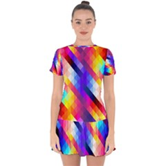 Abstract Blue Background Colorful Pattern Drop Hem Mini Chiffon Dress