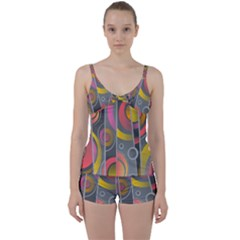 Abstract Colorful Background Grey Tie Front Two Piece Tankini by Bajindul
