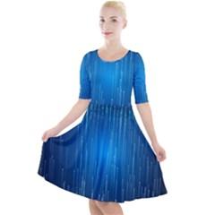Abstract Rain Space Quarter Sleeve A Line Dress
