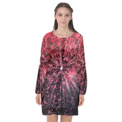 Abstract Background Wallpaper Long Sleeve Chiffon Shift Dress