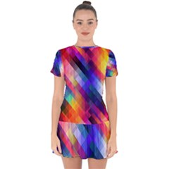 Abstract Background Colorful Pattern Drop Hem Mini Chiffon Dress by Bajindul