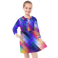 Abstract Background Colorful Pattern Kids  Quarter Sleeve Shirt Dress by Bajindul