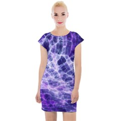 Abstract Space Cap Sleeve Bodycon Dress